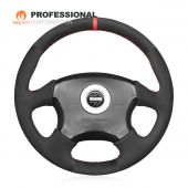 MEWANT Hand Stitch Black Suede Car Steering Wheel Cover Wrap for Subaru Impreza WRX 2002-2004 / Impreza WRX STI 2004
