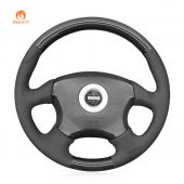 MEWANT Hand Stitch Black Suede Carbon Fiber Car Steering Wheel Cover for Subaru Impreza WRX 1999-2004