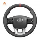 MEWANT Hand Stitch Black Suede Car Steering Wheel Cover forToyotaHilux2015-2021/Fortuner2015-2021