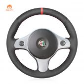 MEWANT Hand Stitch Black Suede Car Steering Wheel Cover for Alfa Romeo 159 2006-2011