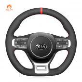 MEWANT Hand Stitch Black Suede Car Steering Wheel Cover for Kia Optima / Kia K5 GT GT-Line Sedan 2021-2022