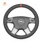 MEWANT Hand Stitch Black Suede Car Steering Wheel Cover for Opel Vectra C 2002-2005 / Signum 2003-2005 /  Vauxhall Vectra C 2002-2004 / Signum 2003-2005 / Holden Vectra 2002-2005