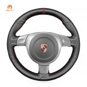 MEWANT Hand Stitch Matte Carbon Fiber Car Steering Wheel Cover for Porsche 911 (997) 2004-2009 / Boxster (987) 2005-2009 / Cayman (987) 2005-2009