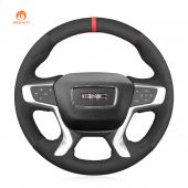 MEWANT Hand Stitch Black Suede Car Steering Wheel CoverforGMCAcadia2017-2022/Canyon2015-2021/Terrain2018-2022