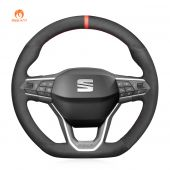 MEWANT Hand Stitch Black Suede Car Steering Wheel Cover forSeatLeon2020-2021/Ateca2020-2021/Tarraco2020-2021
