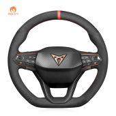 MEWANT Hand Stitch Black Suede Car Steering Wheel Cover forSeatCupraLeon2020-2021