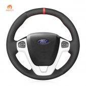 MEWANT Hand Stitch Black Suede Real Genuine Leather Car Steering Wheel Cover forFordFiesta(US)2011-2019