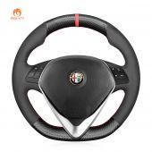 MEWANT Hand Stitch Carbon Fiber Suede Alcantara Car Steering Wheel Cover for Alfa Romeo Giulietta 2014-2021 (D Shape)