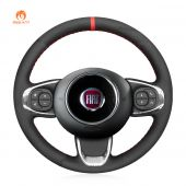 MEWANT Hand Stitch Black Suede Car Steering Wheel Cover for Fiat 500 2015-2021 / 500C 2016-2021