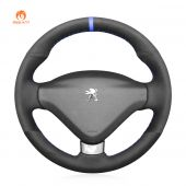 MEWANT Hand Stitch Black Suede Car Steering Wheel Cover forPeugeot207CC2012-2014