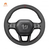 MEWANT DIY Black Suede with Hollow Top Decoration Car Steering Wheel Cover for Honda Civic 11 XI 2021-2022