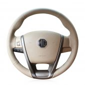 For MG6 MG 6,MEWANT Hand Stitched Non-slip Beige Artificial Leather Steering Wheel Cover Wrap Skin