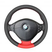 MEWANT Hand Stitch Black Red Artificial PU Leather Car Steering Wheel Covers for BMW M Sport E36 1996-2000 E39 1995-2001 Z3 M E36/7 E36/8 1998-2002
