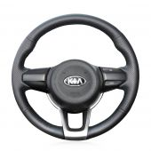 MEWANT Hand Stitch Black Real Genuine Leather Car Steering Wheel Cover for Kia Rio K2 Picanto 2017 2018 Morning 2017