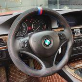 For BMW E90 320i 325i 330i 335i E87 120i 130i 120d,  Custom Leather Suede Hand Sew Steering Wheel Wrap Cover