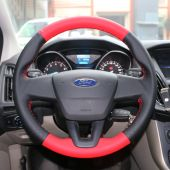 For Ford Focus 3 2015 2016 2017 2018 Fits Without Multi Function Button Steering Wheel, Red Black Perforated Leather Steering Wheel Cover