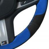 For BMW G30 525i 530i 530d M550i M550d 2017 2018 G32 630i 640i M 2017 2018, Black Blue Suede Sewing Steering Wheel Cover