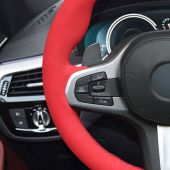 For BMW G30 525i 530i 530d M550i M550d 2017 2018 G32 630i 640i M 2017 2018, Red Suede Hand Stitch Steering Wheel Wrap Cover