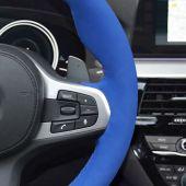 MEWANT Hand Stitch Custom Blue Suede Car Steering Wheel Cover for G20 F44 G22 G26 G30 G32 G11 G14 G15 G16 G01 G02 G05 G06 G07 G29