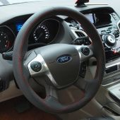 For Ford Focus 3 2012-2014 KUGA Escape 2013-2016 C-MAX 2011-2014, Design Leather Suede Hand Stitch Steering Wheel Cover