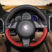 For Porsche Cayenne Panamera 2010 2011, Customize Leather Suede Stitch Steering Wheel  Wrap Cover