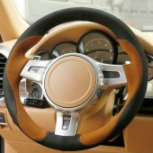 For Porsche Cayenne Panamera 2012- 2014, Design Genuine Leather Suede Hand Sewing Steering Wheel Cover