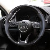 For Audi A5 2017, Custom Carbon Fiber Leather Hand Stitched Steering Wheel Cover