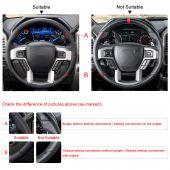 MEWANT Hand Stitch Black Suede Real Genuine Leather Car Steering Wheel Cover forFordF-1502015-2020/F-2502017-2021/F-3502017-2021/F-4502017-2021/F-5502017-2021/F-6002020-2021/F-6502021/F-7502021