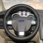 For Ford Focus 2 2005-2011 (3-Spoke), Black Leather Sides Perforated Hand stitch Wrap Steering Wheel Cover