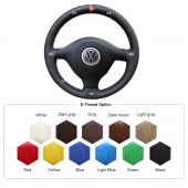 For Volkswagen VW Golf 4 1998-2004 Passat B5 1996-2005 Polo 1999-2002 Seat Leon 1999-2004 , Black Leather With Marker Steering Wheel Wrap Cover