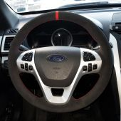 For Ford Explorer 2011-2016 Taurus 2012-2015 Edge 2011-2014, Genuine Leather Suede Hand Sew Steering Wheel Cover