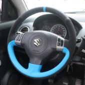 For Suzuki SX4 Alto Old Swift, Customize Black Leather Suede Stitched Steering Wheel Wrap Cover