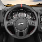 MEWANT Hand Stitch Black Real Genuine Leather PU Leather Car Steering Wheel Cover for Kia Forte (Forte Koup / Forte5) 2010-2013 / Soul 2010-2013 / Rio Rio5 2010-2011