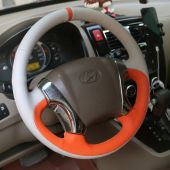 For Hyundai Tucson 2005 2006 2008 2008 2009, Custom Leather Stitched Wrap Steering Wheel Cover
