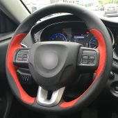 For FIAT viaggio 2015, Customize Genuine Leather Suede Sewing Steering Wheel Cover