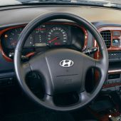 For Hyundai Sonata 1999-2005, Custom leather Hand Sewing Wrap Steering Wheel Cover