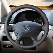 For Mercedes Benz Viano 2006-2011 Vito 2010-2015, Custom Leather Hand Sew Wrap Steering Wheel Cover