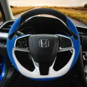 For Honda Civic Civic 10 2016- 2019 CRV CR-V 2017-2019 Clarity 2016-2018,  Custom Blue White Leather Black Suede Sew Steering Wheel Cover