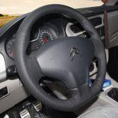 For Citroen Elysee C-Elysee New Elysee 2014 Peugeot 301 2013 2014 2015 2016, Black Leather Sides Perforated Steering Wheel Cover