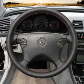 For Mercedes-Benz W210 E-Class E320 2000 2001 2002, Custom Genuine Leather Hand Sew Steering Wheel Wrap Cover