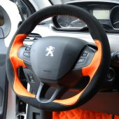 For Peugeot 208 Peugeot 2008, Design Leather Suede Wrap Steering Wheel Cover
