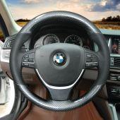 For BMW F10 2014 520i 528i 2013 2014 730Li 740Li 750Li, Custom Carbon Fiber Leather Sew Steering Wheel Cover