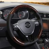 For Volkswagen VW Golf 7 Mk7 New Polo Jetta Passat B8 Tiguan 2017 Sharan 2016 2017 Touran 2016 2017 Up, Wood Grain Leather Wrap Steering Wheel Cover