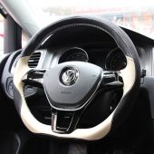 For Volkswagen VW Golf 7 Mk7 New Polo Jetta Passat B8 Tiguan Sharan Touran Up,  Customize Leather Suede Hand Sew Wrapped Steering Wheel Cover