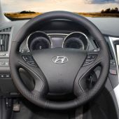 For Hyundai Sonata Sonata 8 2011 2012 2013 2014, Customize Genuine Leather Hand Stitch Steering Wheel Wrap Cover
