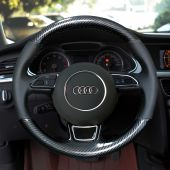 For Audi A1 A3 A5 A7, Custom Carbon Fiber Leather Steering Wheel Wrap Cover