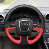 For Audi A3 (8P) 2008-2013 A4 (B8) 2008-2010 A5 2008-2010 A6 (C6) 2007-2011, Black Perforated Leather Black Red Suede Steering Wheel Cover
