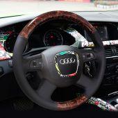 For Audi Old A4 B7 B8 A6 C6 2004-2011 Q5 2008-2012 Q7 2005-2011, Custom Wood Grain Leather Sewing Steering Wheel Cover