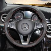 For Mercedes Benz A180 A200 B200 B180 C180 C200 C260 C300, Design Leather Suede Hand Sew Steering Wheel Cover