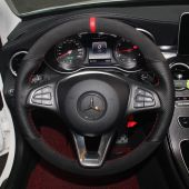 For Mercedes-Benz A180 A200 B180 B200 C180 C200 C260 C300, Design Leather Suede Hand Sewing Steering Wheel Cover